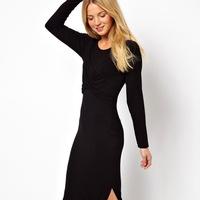 Sexy Maxi Dresses Women 2014 Winter New Brand Slim Flexible Split Dress For Tall Women Long-sleeve folds vestidos with split