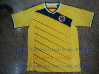 A+++ Top Thai Grade Colombia 2014 Kit Home Yellow Futbol Jersey Soccer Top Mens Camisetas De Futbol Uniforms Roupas De Crianca