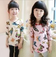 New spring bottoming shirt kids girl child shirt butterfly pattern child medium-long t-shirt