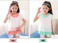 2014 children's clothing summer girls child chiffon short-sleeve t-shirt child summer top Tee