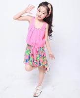 Female child 2014 one-piece dress summer spaghetti strap child pleated breathable beach dress