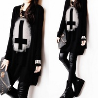 2014 women's casual summer fashion cross patchwork chiffon loose basic shirt female long-sleeve T-shirt