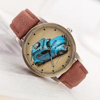 Fashion Woman wristwatches Cowboy fabric band watches Men women quartz watches with car partten Electronic 2014 new- FP033-