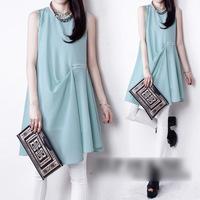 2014 NEW summer medium-long sleeveless tank dress loose plus size beach dress chiffon one-piece women's fashion dress