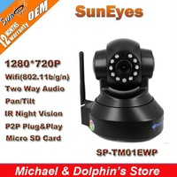 SunEyes H.264 720P HD IP Camera Wifi Network CCTV Camera with IR Cut and Support Max 32G Micro SD Card Slot SP-TM01EWP
