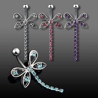 4color 316L Stainless Steel Navel Ring Umbilical Nail Butterfly Navel Button Needle Tell me the color 10piece/lot