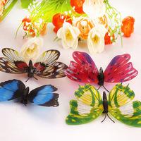 10cm (10pcs/lot) simulation PVC Vivid Multi Color Noctilucent Luminous Butterfly Fridge Magnet for Home Decor