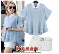 Fashion Rushed Freeshipping Pullovers Cotton 2014 Peter Pan Collar Ruffle Expansion Irregular Bottom Top Fashionable Shorts Set