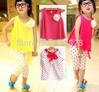 2014 Hot sell kids girls sets clothing baby summer vest shirt+Harem Pants children short sleeve clothes