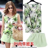 2014 Real New Freeshipping Pullovers Rayon Regular Fashion All Code Summer Sleeveless Print Loose Chiffon Shirt Shorts Set