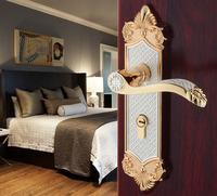 24 k gold plating  LOCK Gold Door lock handle door levers out door furniture door handle Free Shipping pb13
