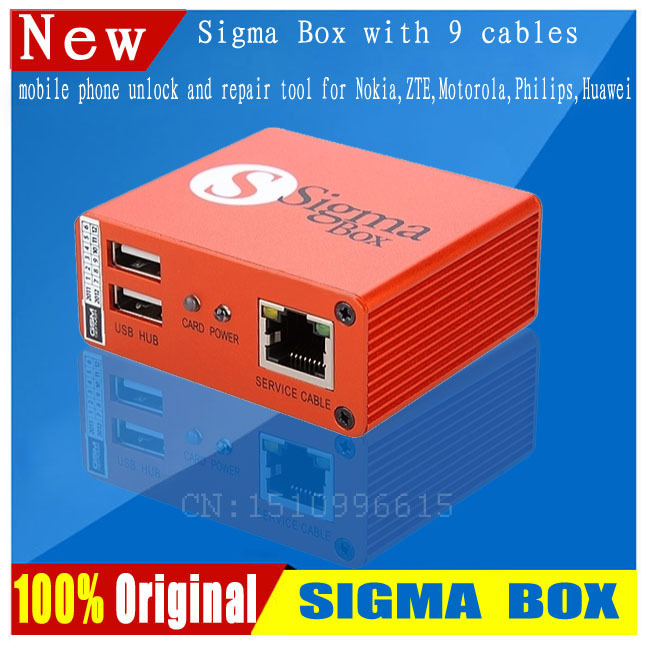 2014 100% Original Latest Sigma Box+9cables mobile phone unlock and repair tool for Nokia,ZTE,Huawei(No activation PACK1)(China (Mainland))