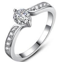 CZ Diamond Ring O 18K White Gold Plated Classic Design Rings For Women Wedding Party Engagement Ring Full Size 5/6/7/8/9