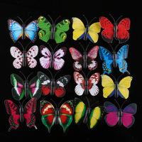 New small 4cm simulation PVC Vivid Multi Color Noctilucent Luminous Butterfly Fridge Magnet for Home Decor(10pcs/lot)