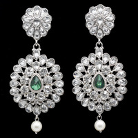 Free Shipping High Quality Green Crystal Fashion Silver Plated Big Earrings For Women