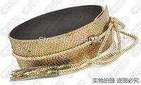 Women's cummerbund serpentine pattern no button rope tieclasps wide waist sealing gold silver black