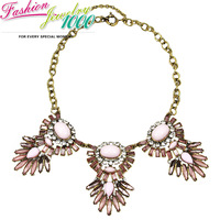 New Vintage Brand Pink Flower Pendant Chunky Statement Crystal Necklace Fashion Dancing Dress Jewelry For Women Free Shipping