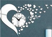 Acrylic 3D mirrror wall sticker home decoration fashion mirror heart wall clock modern design wall clock for children