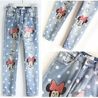 2014 new fashion spring jeans women mickey hole dot autumn skinny jeans lovely winter sweet pant  leisure trousers