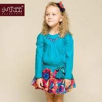 Catimini brand Girls clothing 2014 spring child beautiful flower dress national trend print dress baby girls princess dress