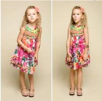 France design 2014 New High quality children's dress floral girl dress brand girl's dresses hotsale designer kids dress for girl