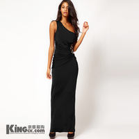 The new elegant black long dress sexy backless cultivate one's morality