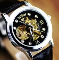 2014 New Mens Automatic Mechanical Gold  Skeleton  Black Man Leather Wrist Watch  GIFT winner Mechanical watch