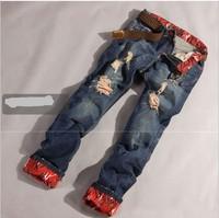 2014 new winter influx of men frayed jeans male leopard essential men's jeans men's denim pants Slim brand jeans Free shipping
