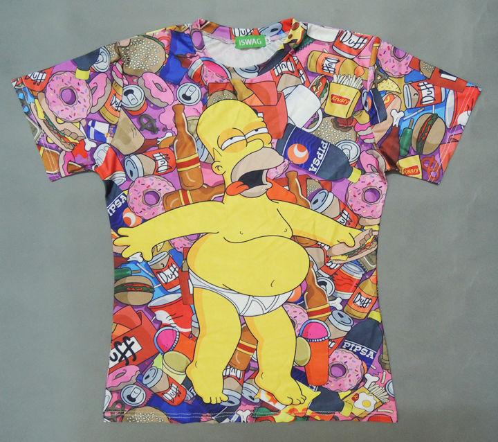 SALE!! Summer 2014 women men Harajuku PUNK 3D bat norton drunk Simpson with bottle print T-shirt couple clothes MM05003(China (Mainland))