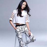 Women's Hot Sale Freeshipping Print Streetwear Cutout 2014 O-neck Short-sleeve Top Ink And Wash Painting Elastic Waist Pants Set