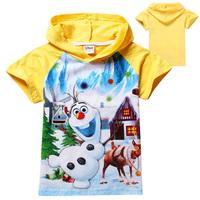 Retail Boys T shirts Frozen Olaf Kids T shirt tops children brand  T-shirts short sleeve yellow hooded Tee 1405z 38835385126 cux