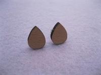 unique design raindrop wooden stud earrings