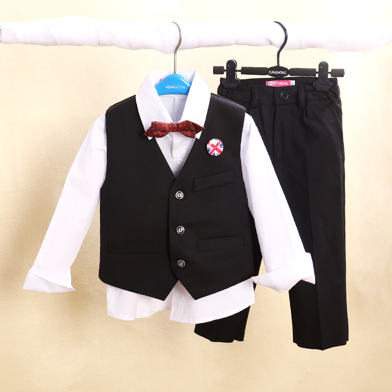 (2-12 Years)Honorable Child Boys Vest Sets Fashion Male Babys Formal Dress Children's Suits(Bow+Shirt+Vest+Pants)Supply(China (Mainland))