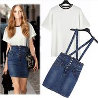2014 Rushed Special Offer Free shipping None Regular hot Summer Women's Fashion High Waist Skirt Suspender slim hip body T-shirt