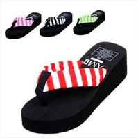 Girls summer high-heeled shoes flip flops platform flip slippers wedges platform slippers towel