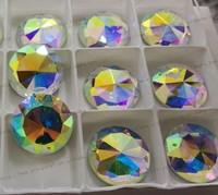 Free shipping 54pcs crystal glass beads flat back no hot fix shiny rhinestone rivoli sew on two holes 18mm garment accessories