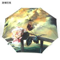 2014 free shipping 43-inch automatic lady's girl's classic fashion Rose oil painting umbrella travel three folding umbrella