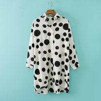 New Women XXXL Fashion Big Polka Dot Loose Plu Size Batwing Sleeve Blouse,Ladies Long Sleeve Chiffon Suncare Shirt c377