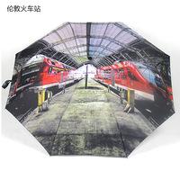 2014 free shipping fashion automatic London railroad station oil painting umbrella 43-inch travel folding umbrella