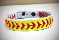Leather softball seam bracelet,softball bracelet,fastpitch softball bracelet
