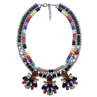 2014 New fashion necklace & pendant Unique colorfull beads chain J C chunky pendant choker Necklace statement jewelry women