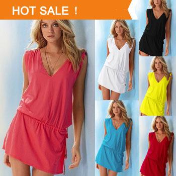 Buy solid bikini dress women sexy holiday beach casual summer dresses