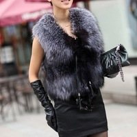 Low Low !!!2014 Autumn and Winter New Design Nature faux Silver Fox Fur Vest gilet outwear womens with Fox Heads
