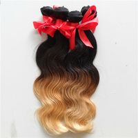 5A Malaysian Ombre virgin body wave hair extensions 3pcs lot dip dye 1b/27 Blonde loose deep wave curly hair weave free shipping