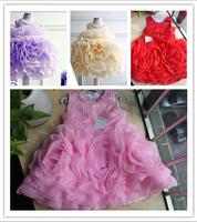 1 piece 2014 new baby Girl party Dresses Infant Party Princess cake Tutu big flower Dresses,Girls wedding Dress birthday dress