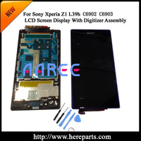 Free shipping + Tool Kits For Sony  Xperia  Z1 L39h  LCD Screen Display  Digitizer Assembly with frame  - Black /White/Purple