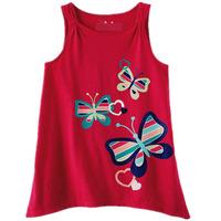 girl cartoon cotton T-shirt-red Butterfly