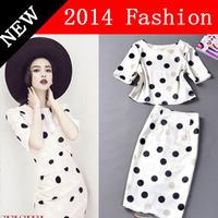 HOT SALE New fashion 2014 Spring summer Women Clothing Set Suit star style crop top skirt set Woman short Sleeve spot Print 55W