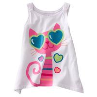 girl cartoon cotton T-shirt-cat