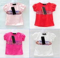 2014 new Children Hot sales summer Girls T-shirt Red White multicolor cotton short-sleeved T-shirt Tops